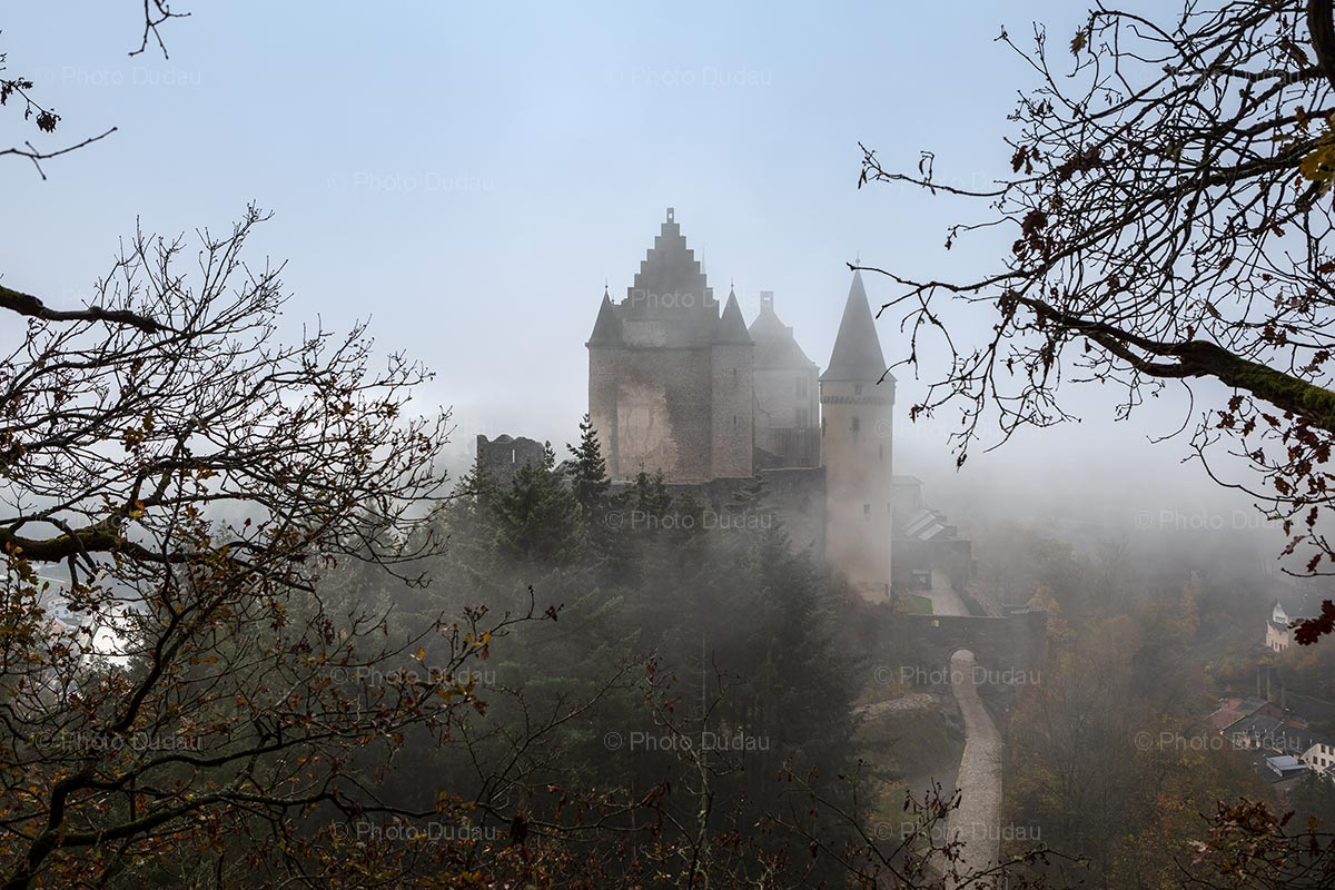 Vianden Castle in fog