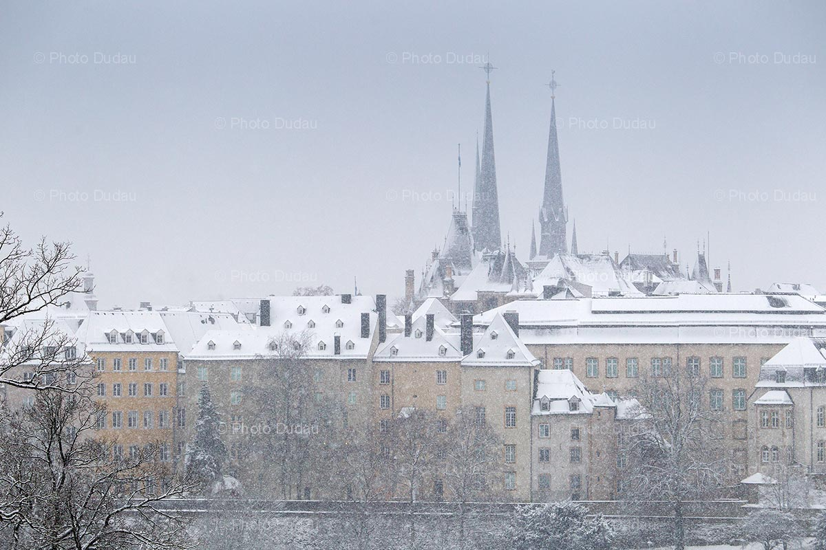 Luxembourg city heavy snowfall