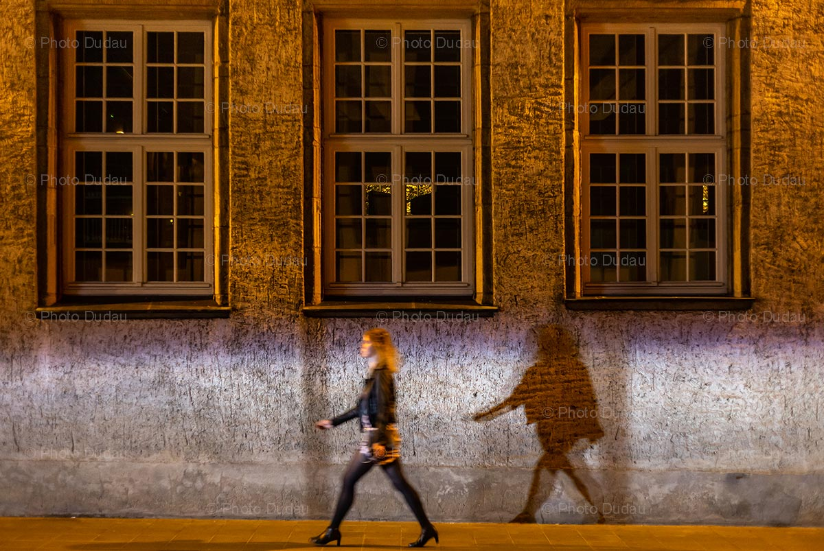 Street photo in Luxembourg at night