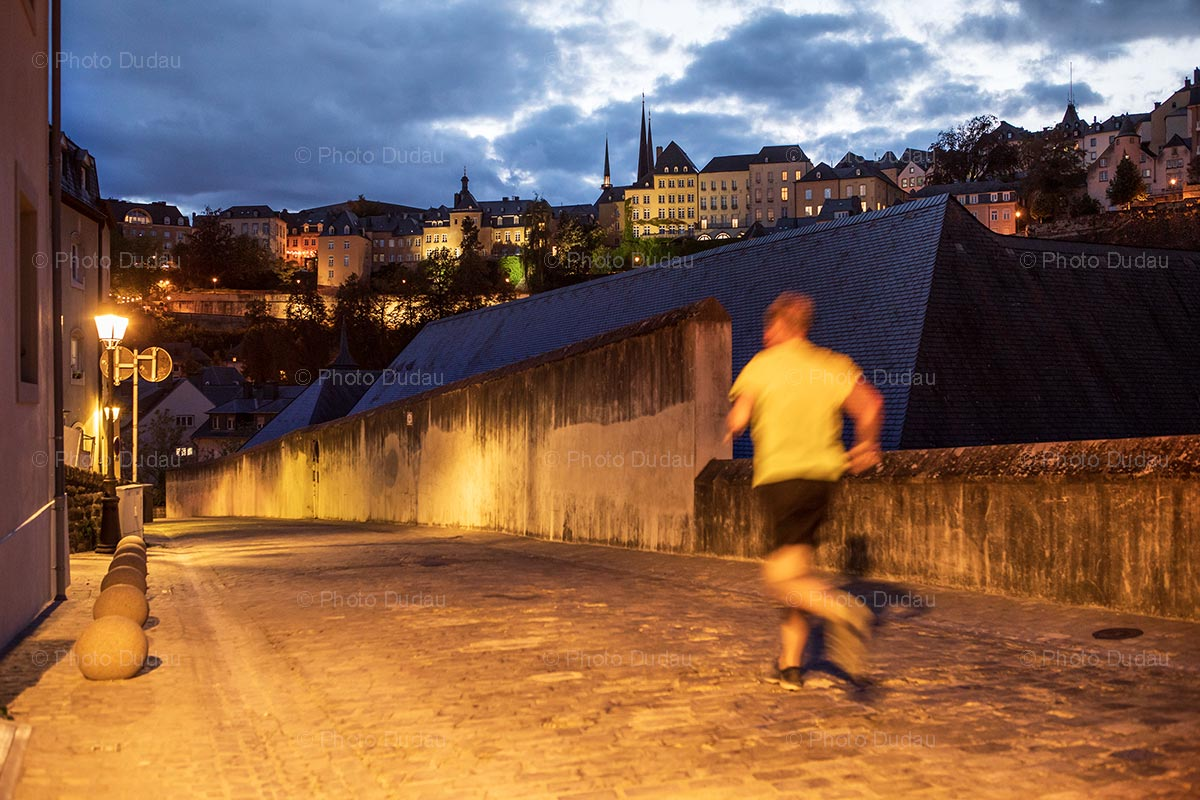 Running in Luxembourg old town