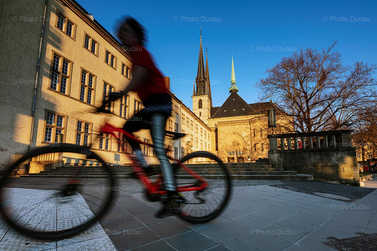 Riding a bike in Luxembourg city