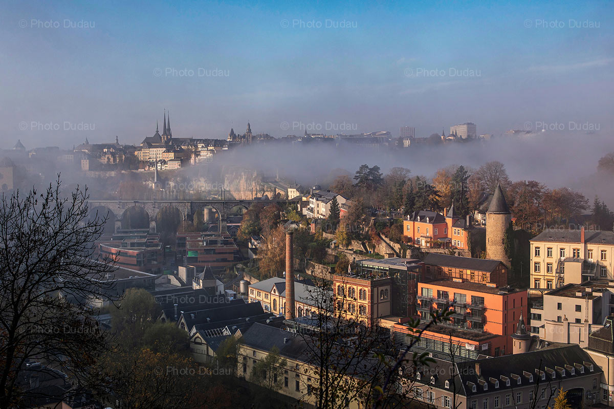 Luxembourg foggy cityscape over Clausen