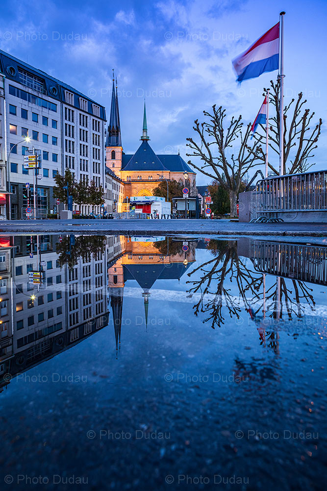 Notre Dame reflection at night in Luxembourg city