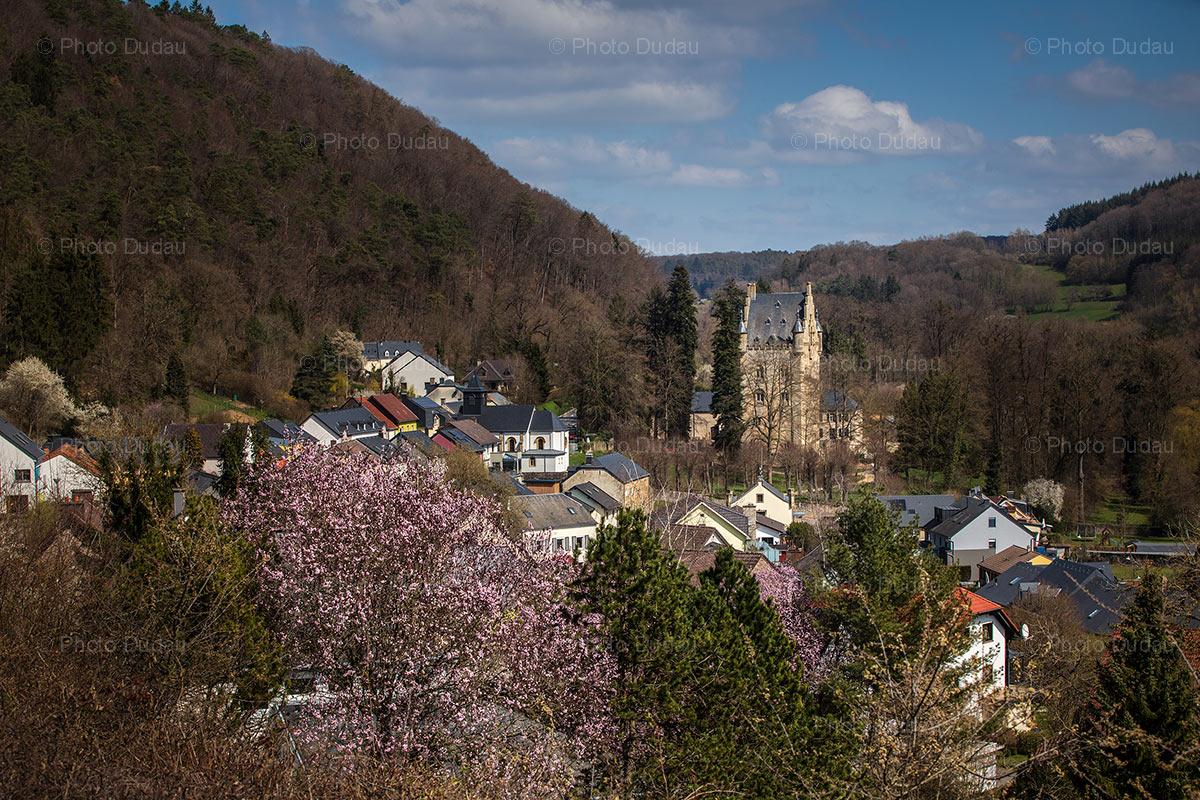 Schoenfels castle in Luxembourg in spring