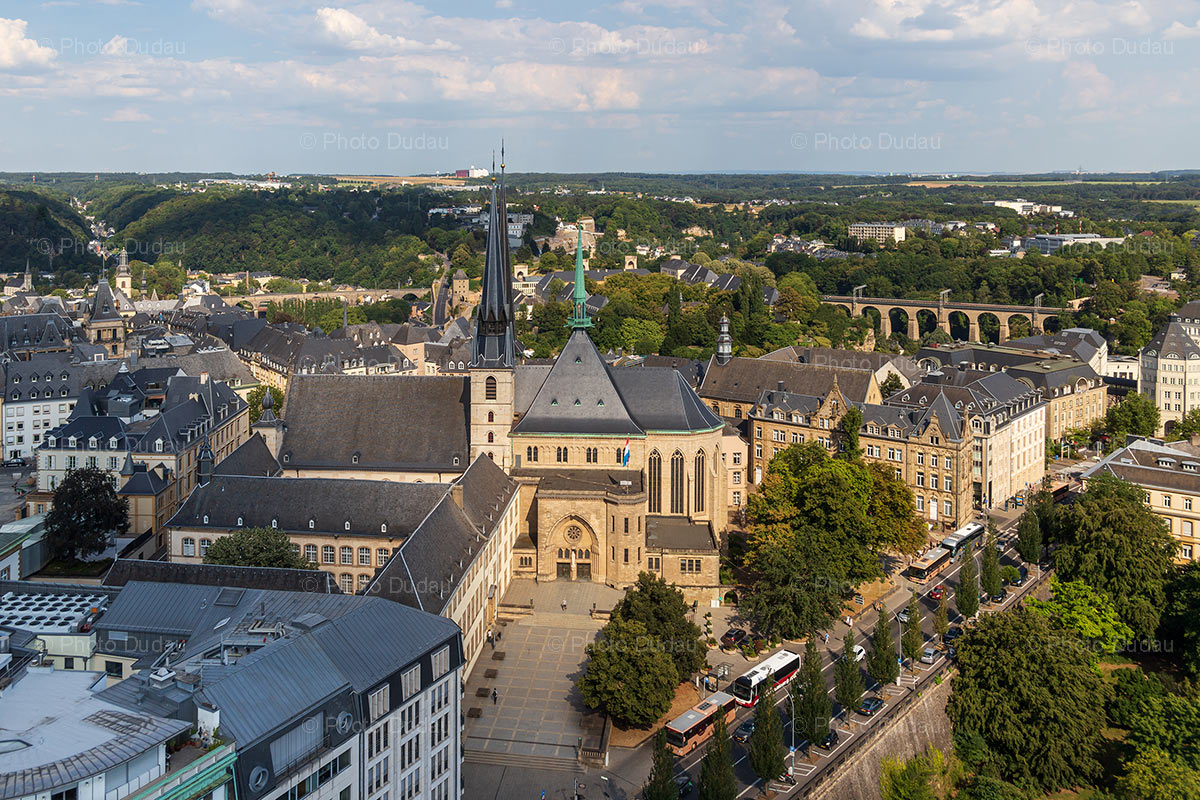 Notre Dame in Luxembourg aerial view