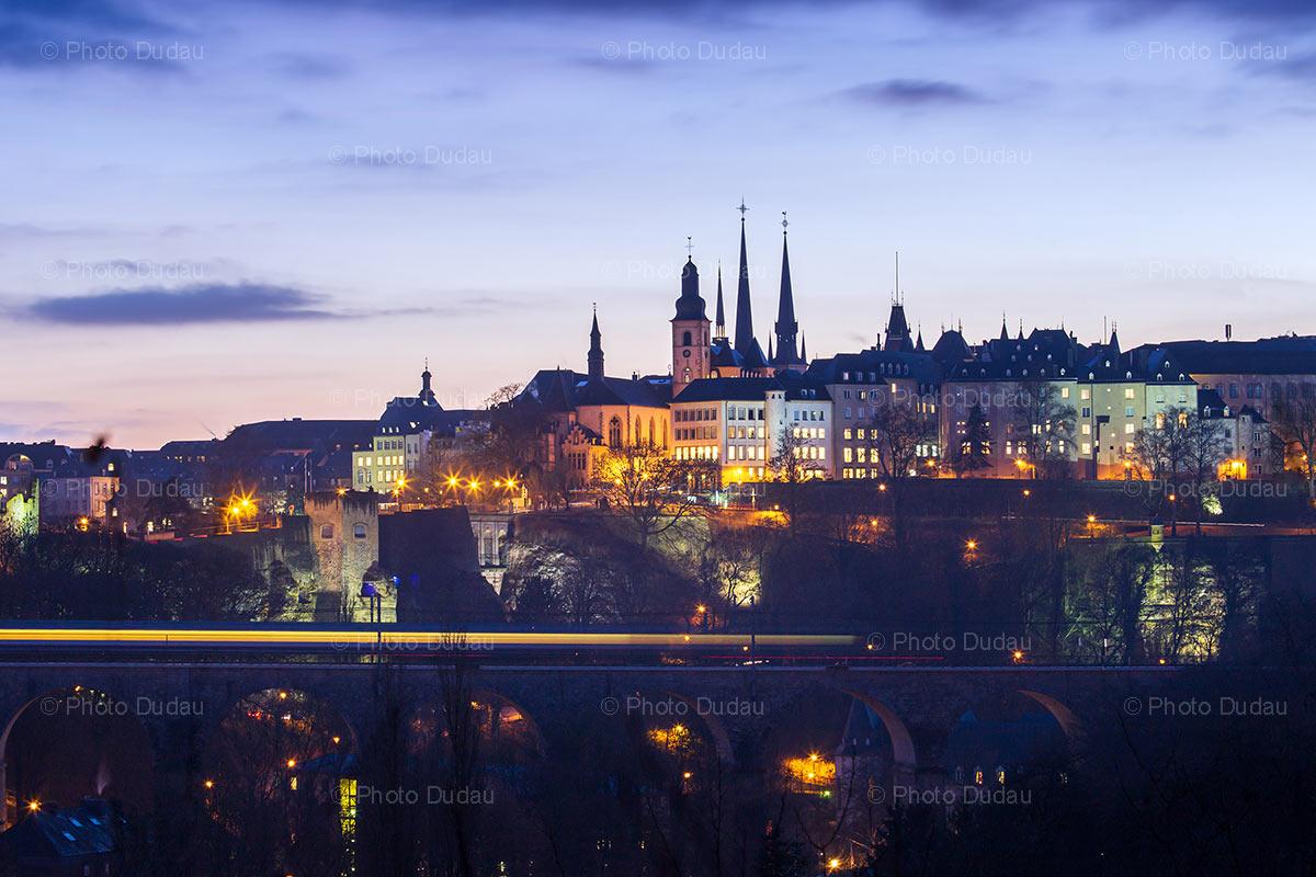 Luxembourg city sunset cityscape