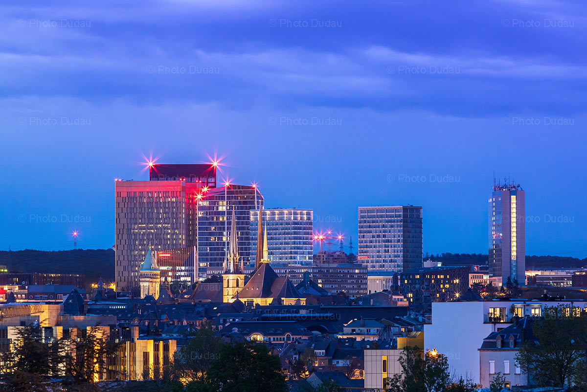 Luxembourg night skyline with Kirchberg and landmarks
