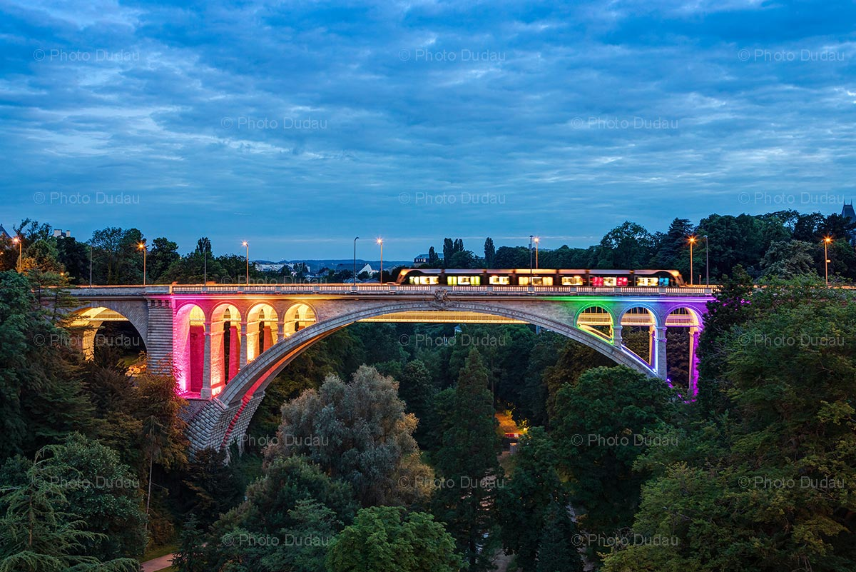 Pont Adolphe in rainbow colors