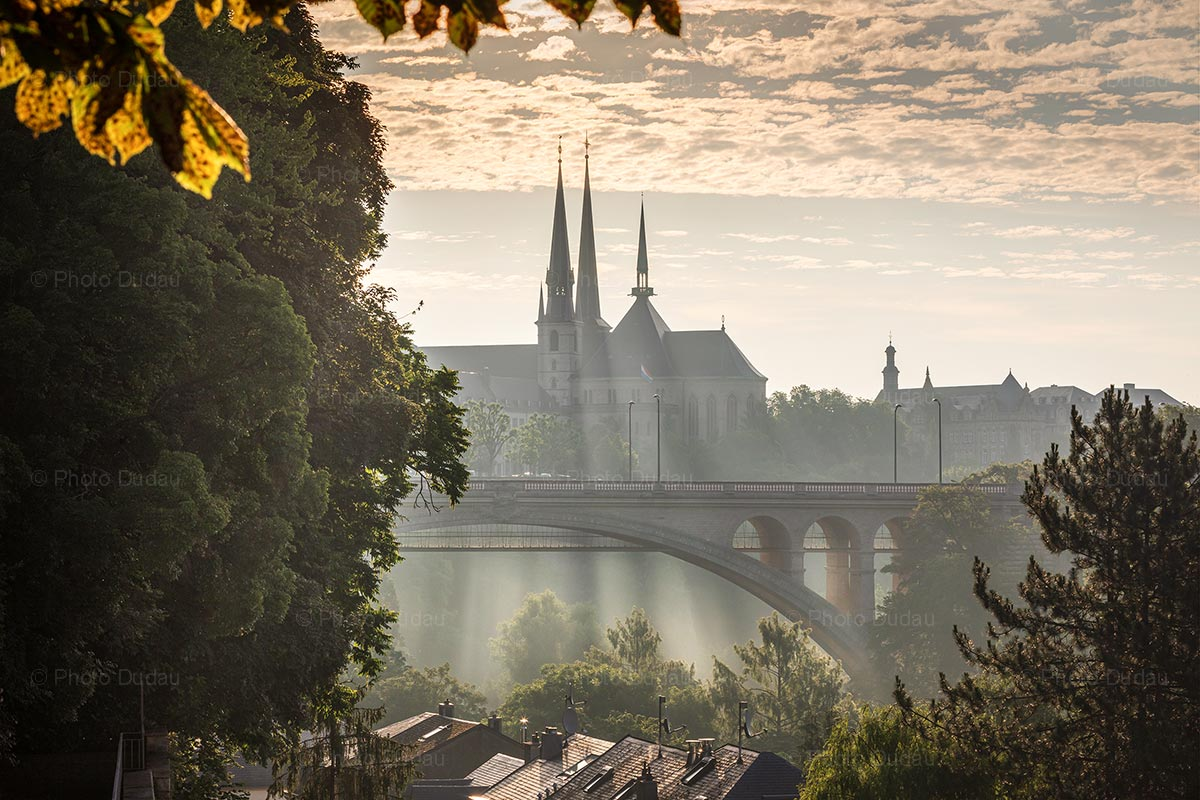 Pont Adolphe and Notre Dame in Luxembourg