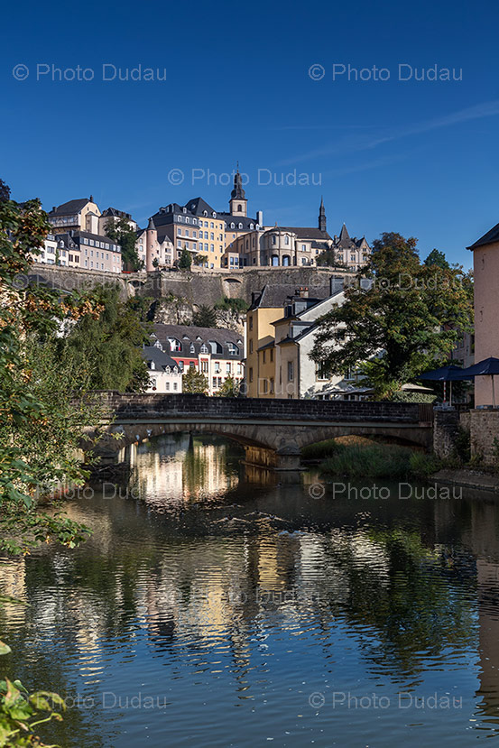alzette river in grund, luxembourg city