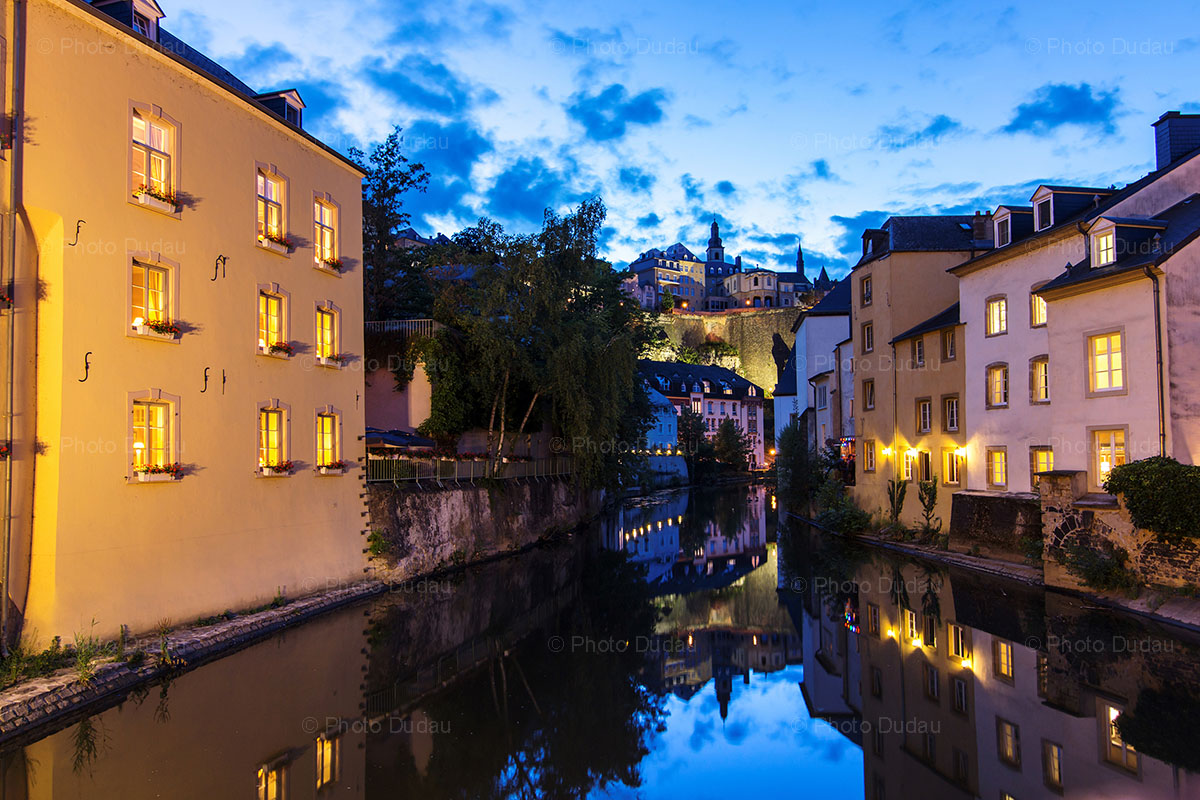 Luxembourg City night view in Grund