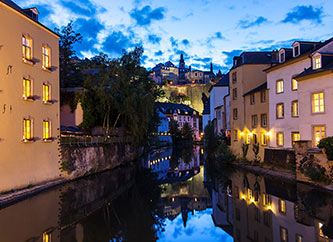 Night view of Grund, Luxembourg city
