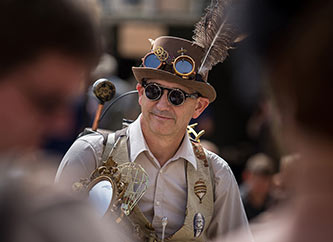 man dressed in steam punk costume