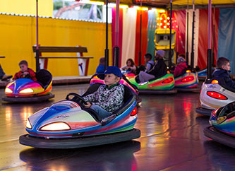 riding bumper cars at Schueberfouer