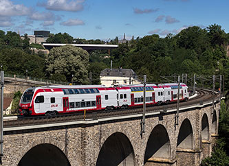 CFL train crossing Pulvermuhl Viaduct Bridge in Luxembourg