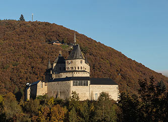 Vianden Castle in Luxembourg, autumn view.