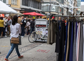 clearance sales on Grand Rue in Luxembourg city.