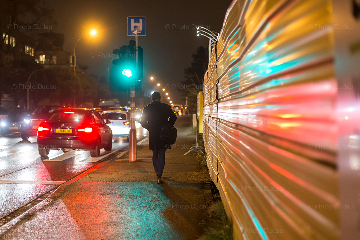 Luxembourg Route Arlon night traffic