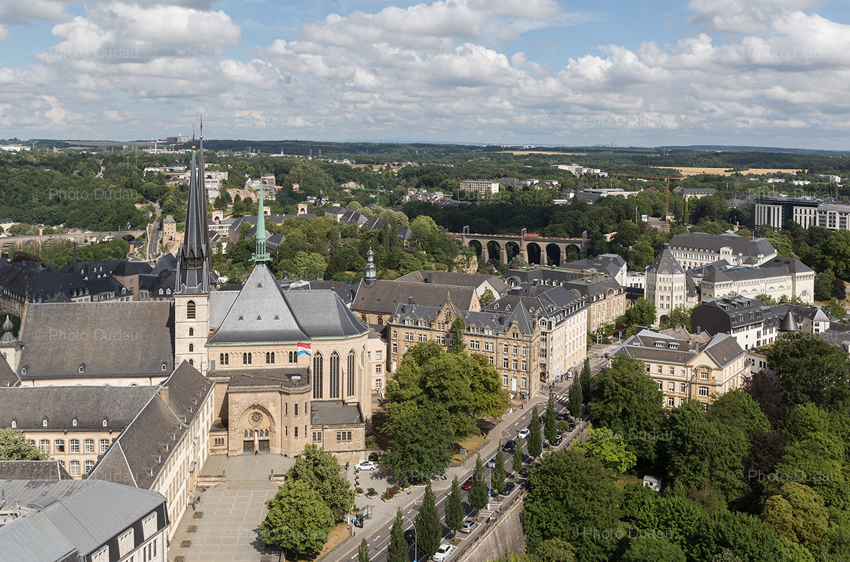 Aerial view over Luxembourg city downtown