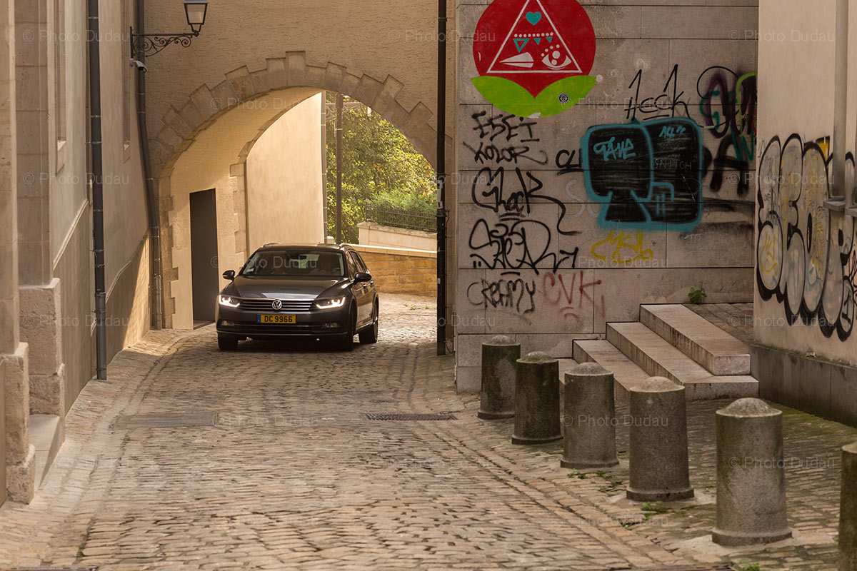 Car on narrow street in Luxembourg