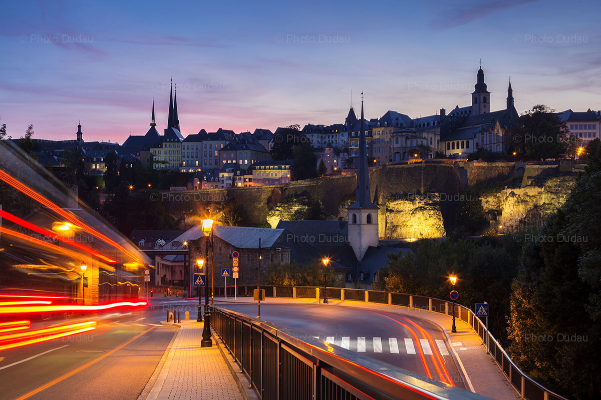 Luxembourg City old town night view