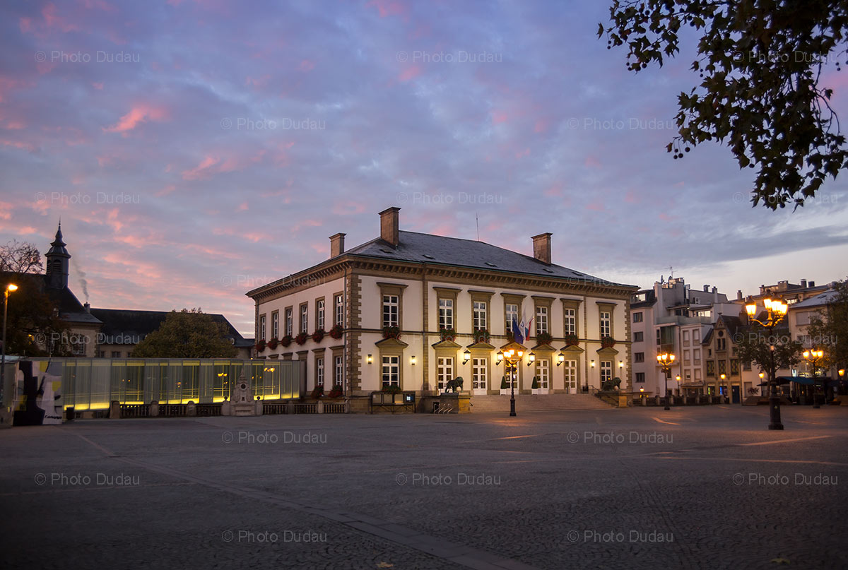 Place Guillaume II Town Hall sunrise in Luxembourg