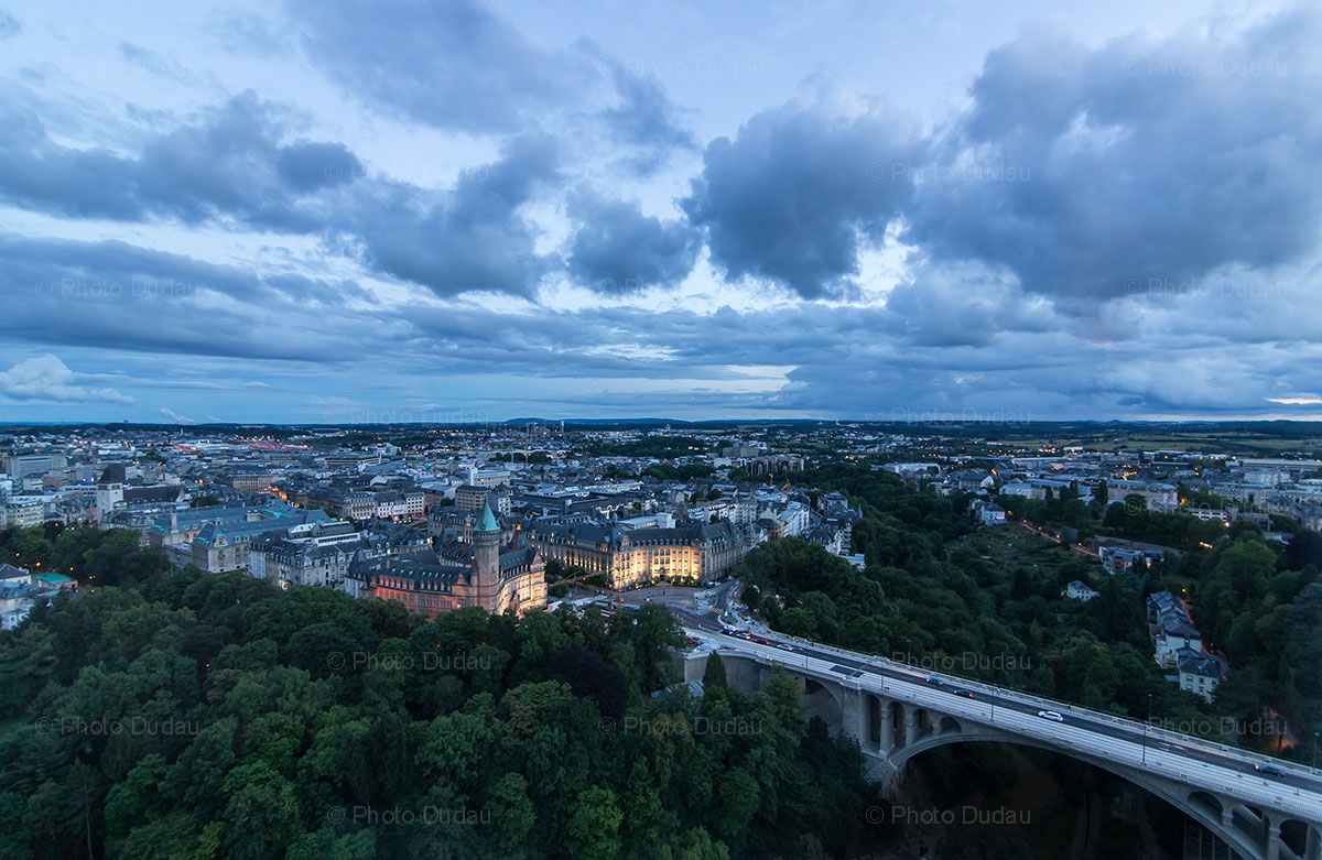 Luxembourg city aerial view over landmarks