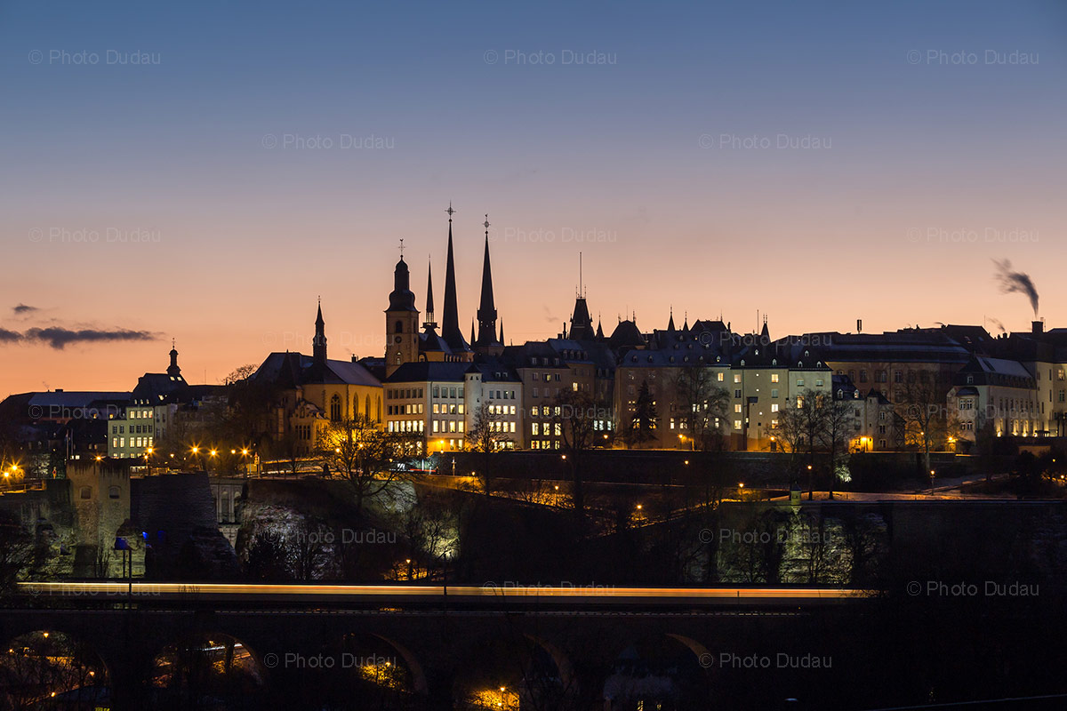 luxembourg skyline night shot