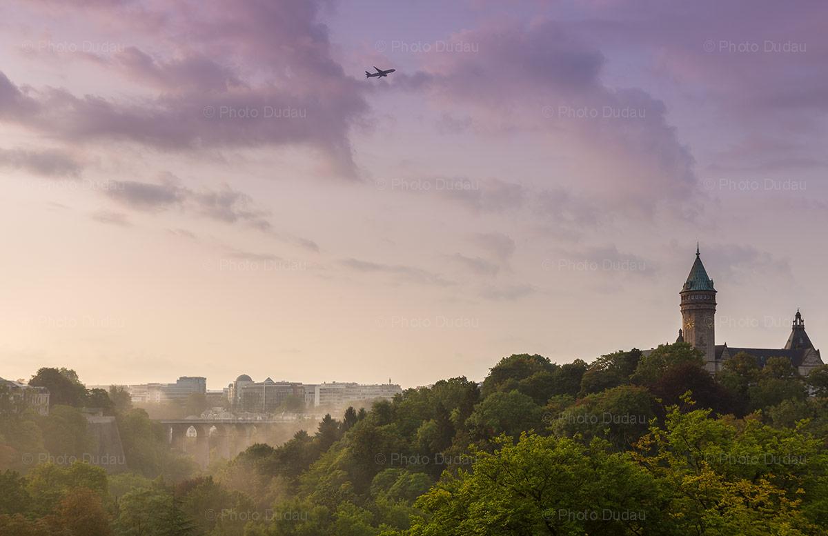 luxembourg city morning sunrise