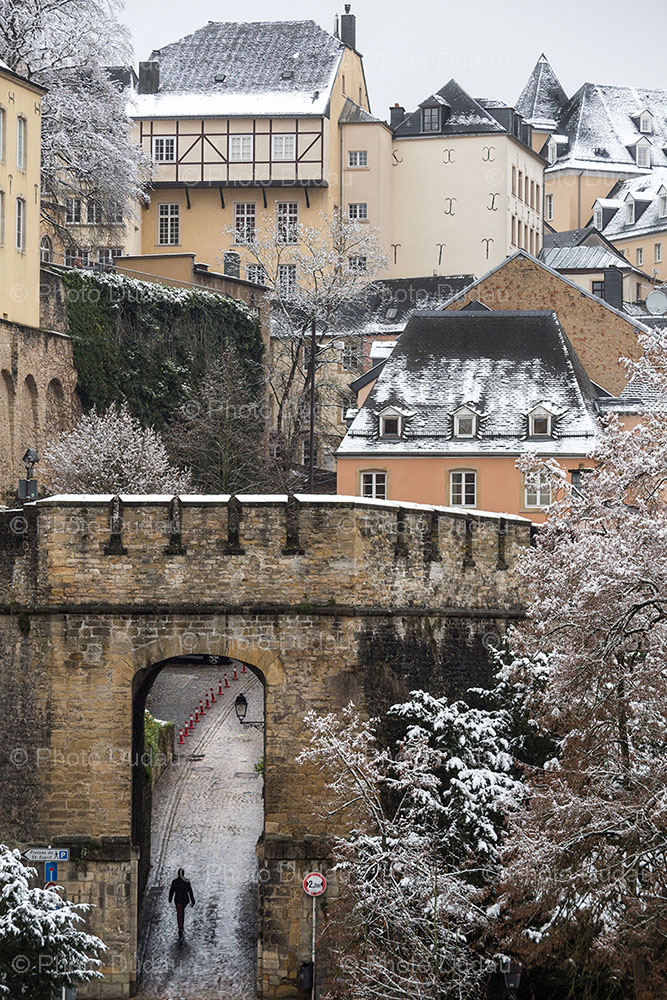 old town in winter, luxembourg city