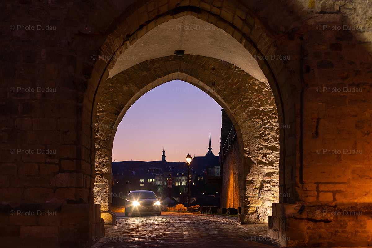 Luxembourg city old town at night