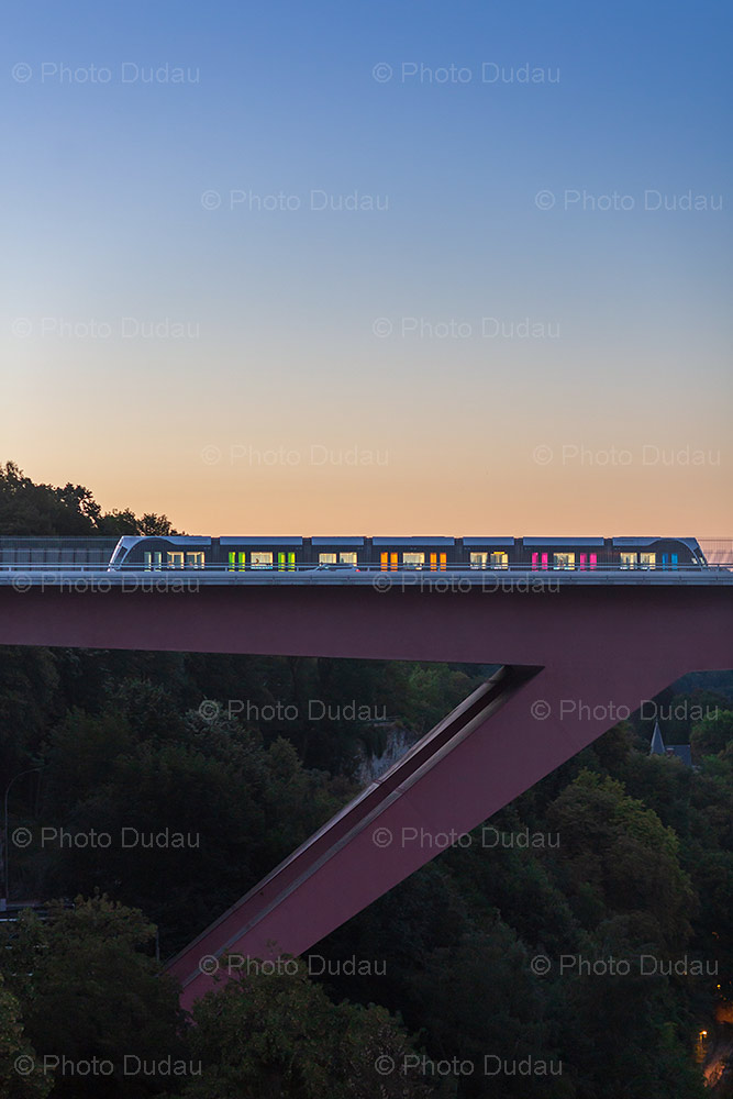 Tram on Red Bridge Luxembourg