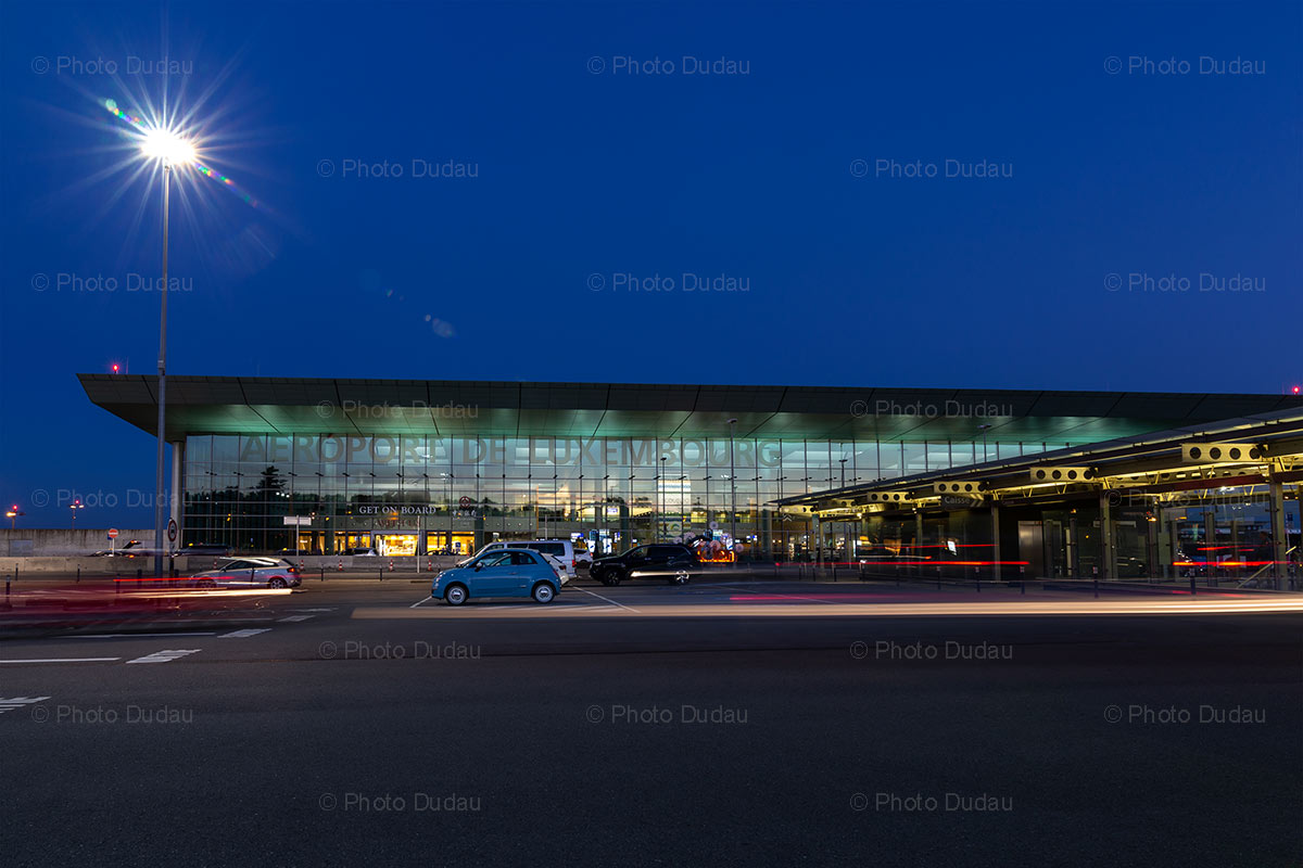 Luxembourg Airport at night