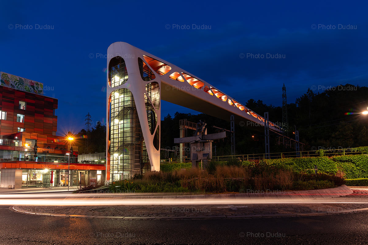Esch-sur-Alzette pedestrian bridge at night