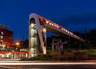 Esch-sur-Alzette pedestrian bridge at night
