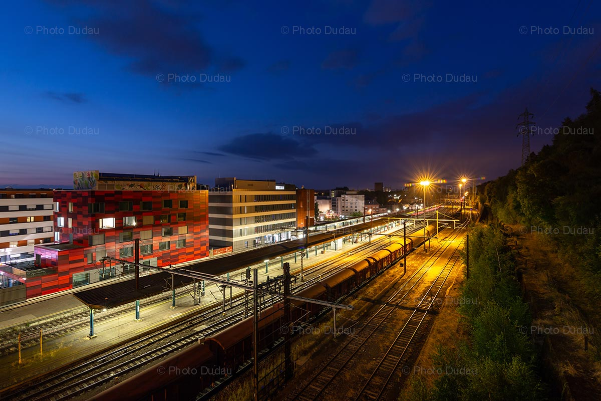 Esch-sur-Alzette train station at night