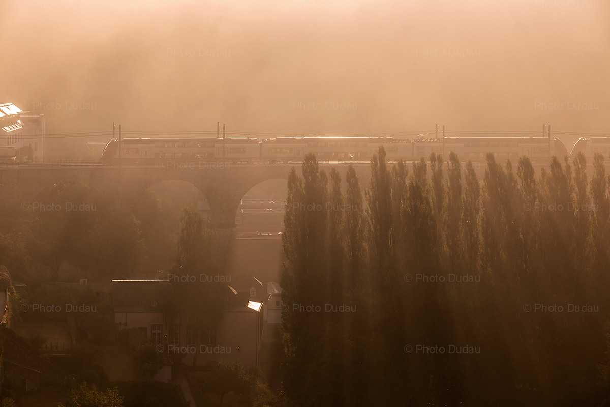 train in luxembourg at sunrise