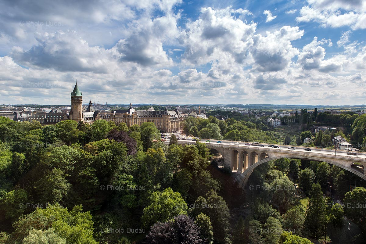 Luxembourg city landmarks aerial view