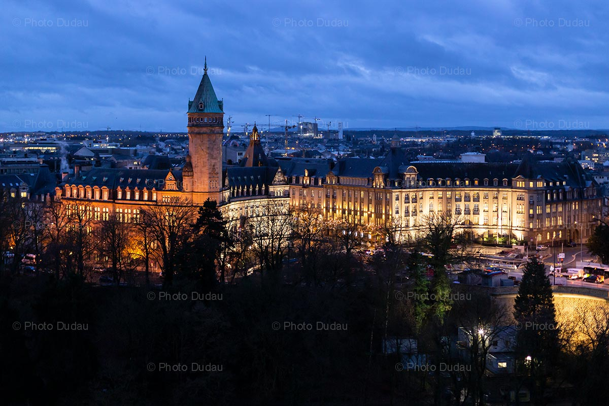 Spuerkeess tower at night in Luxembourg
