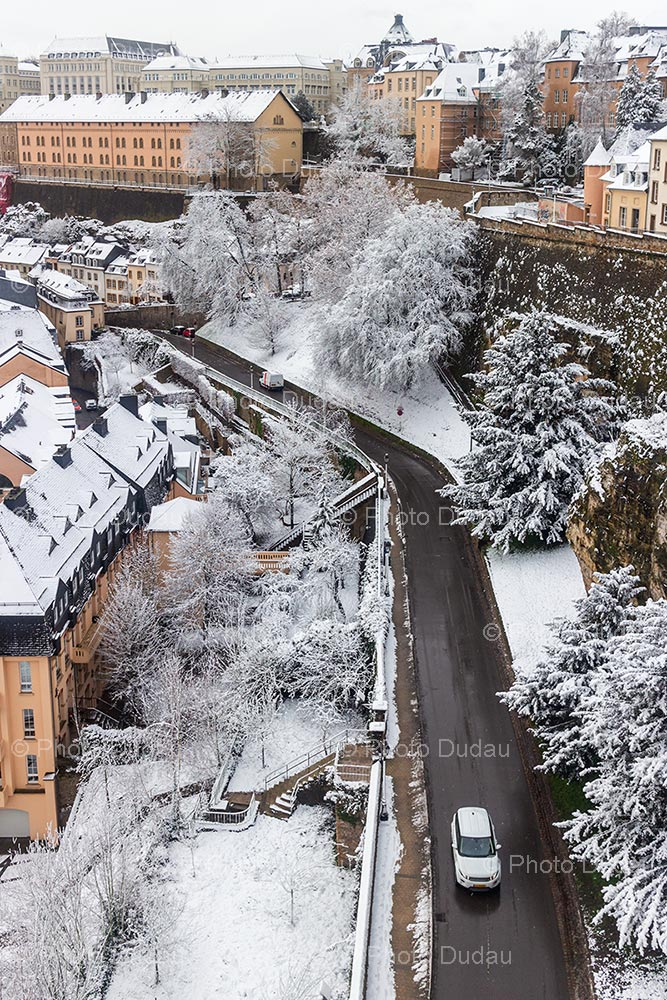 Snowy Grund in Luxembourg city