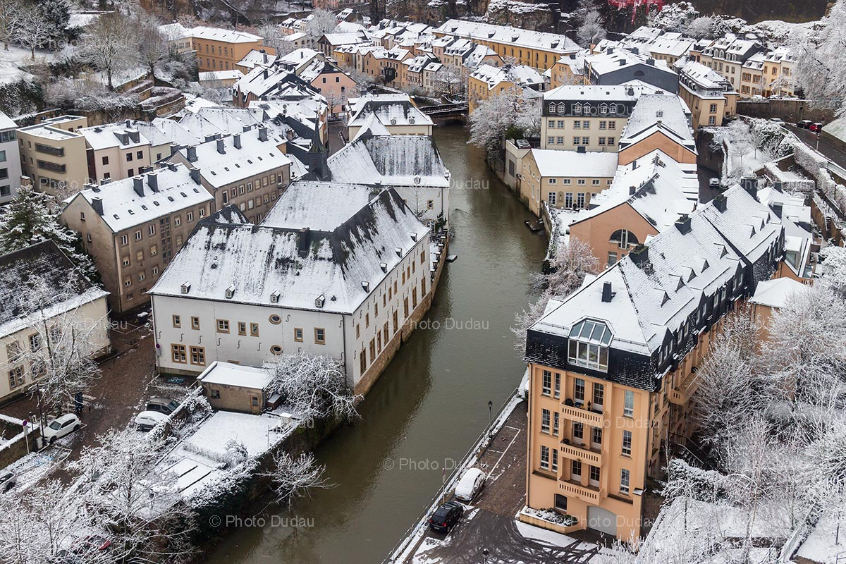Snow over Grund in Luxembourg