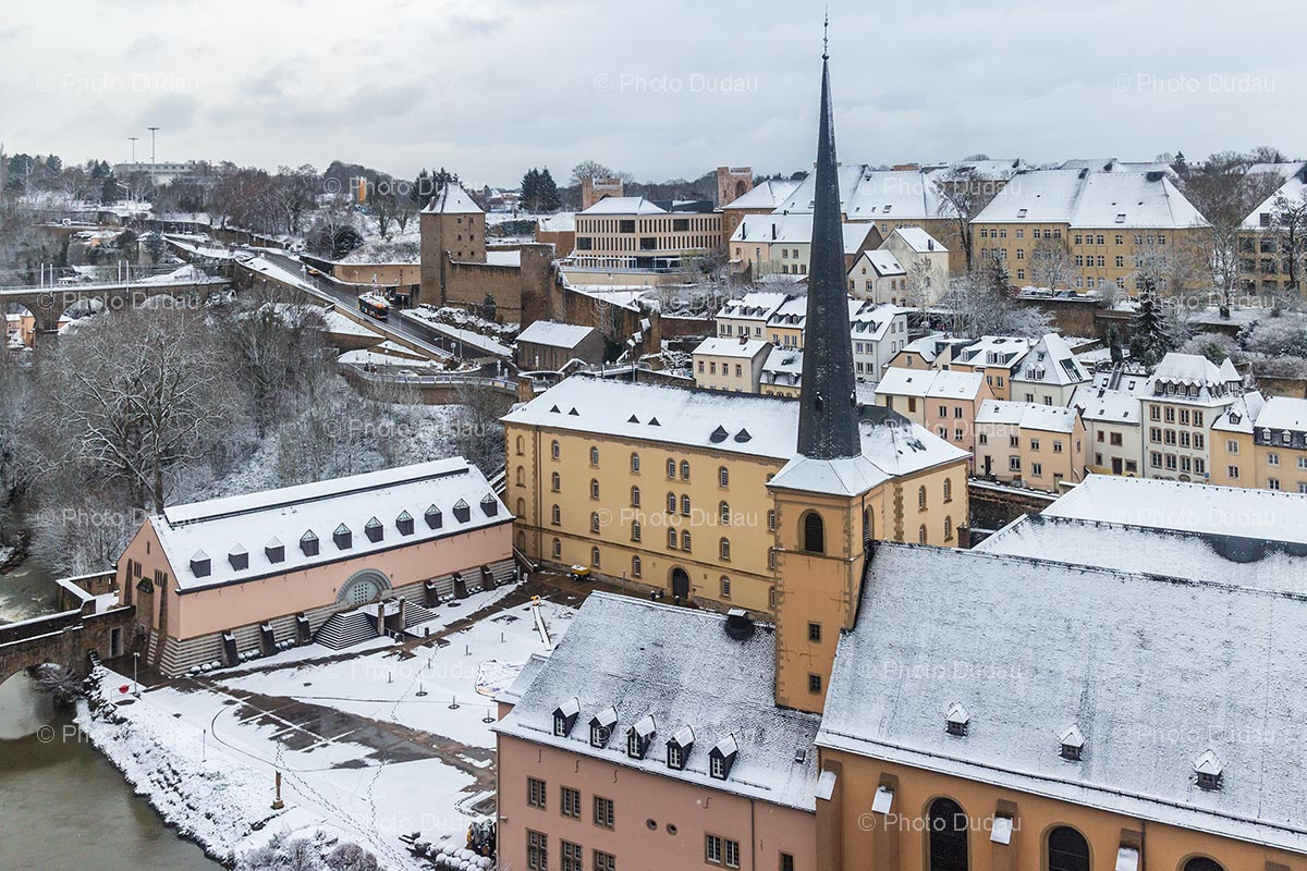 Luxembourg Neumunster Abbey under snow