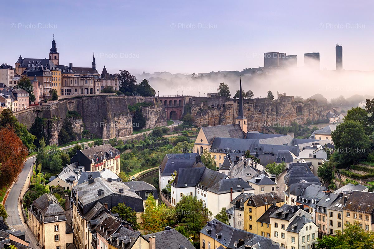 Luxembourg city cityscape over Grund