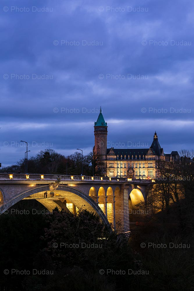 Pont Adolphe and Spuerkeess during night