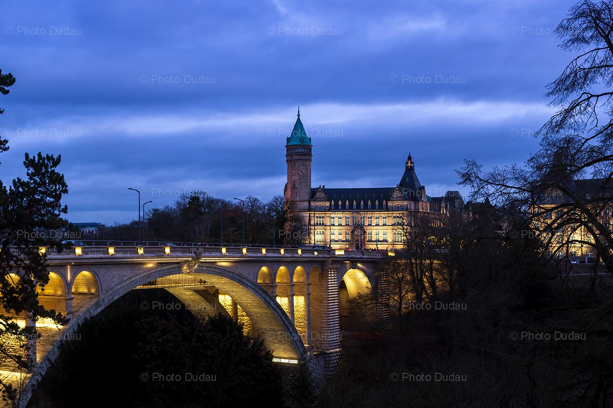 Pont Adolphe and Spuerkeess night view