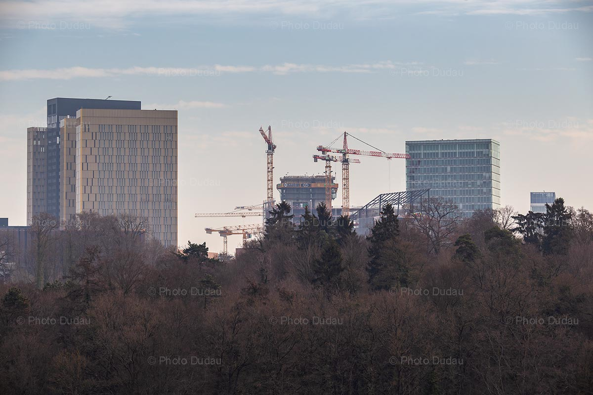 Cranes on construction site in Luxembourg