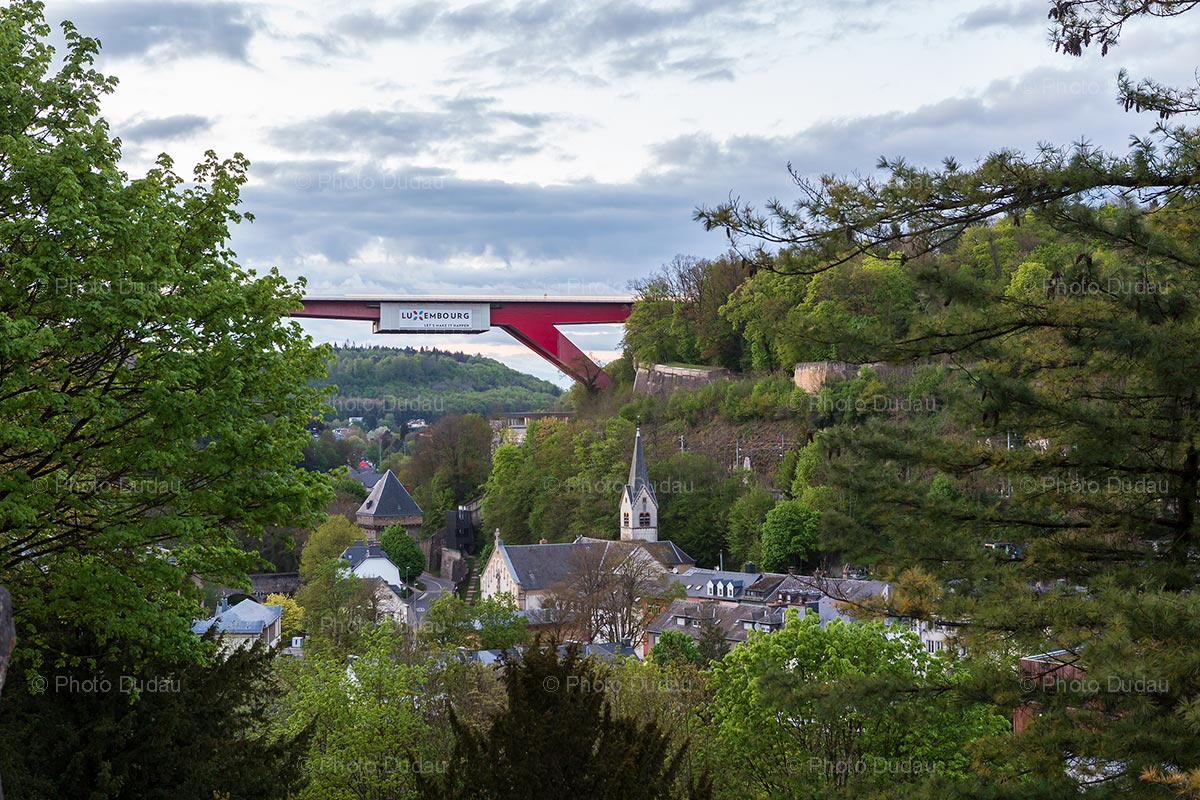Red Bridge seen from Pfaffenthal in Luxembourg