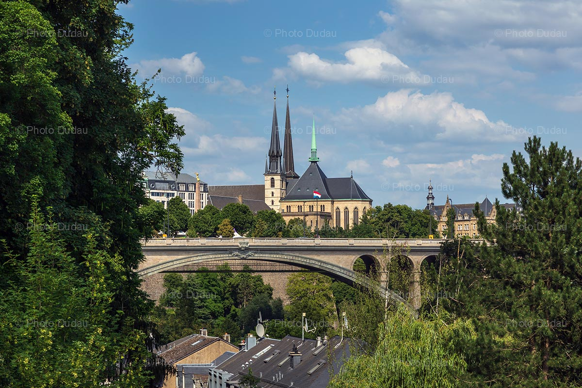 Landmarks of Luxembourg city in summer