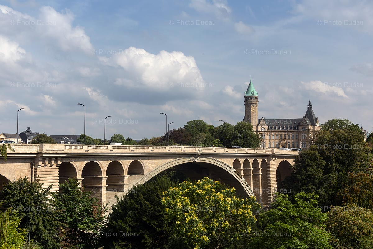 Luxembourg city landmarks in sunny day