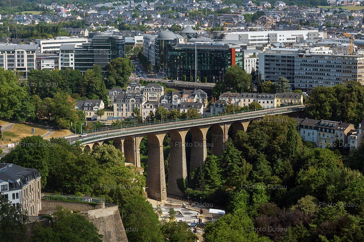Luxembourg city aerial view over Passerelle Bridge